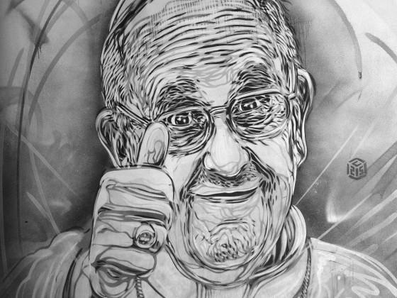 Papst  Franziskus  Graffiti in Rom